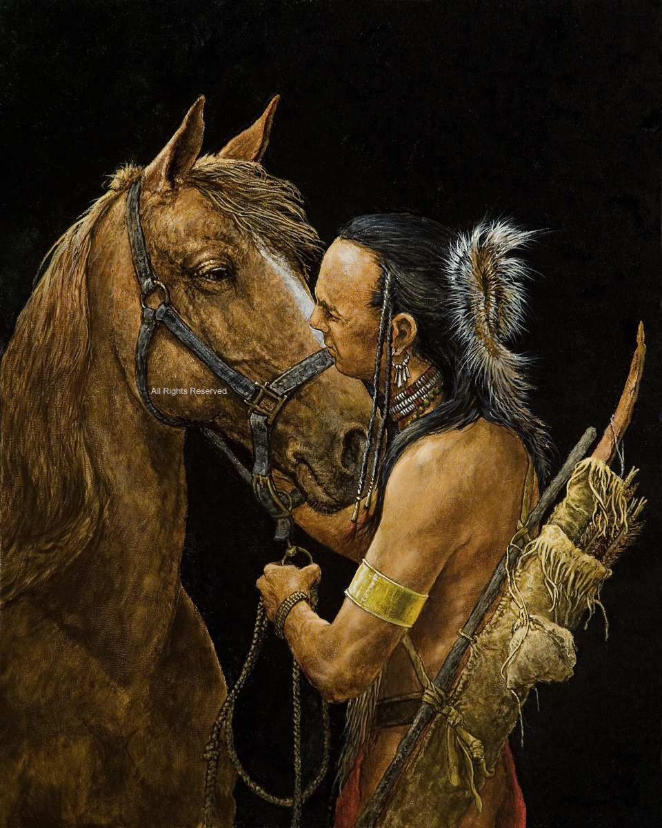 American Indian bonding with his horse