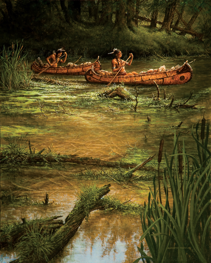 American Indians in canoe