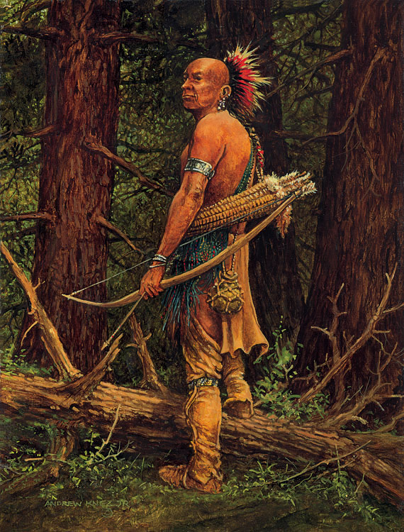 PAINTING OF NATIVE WITH BOW