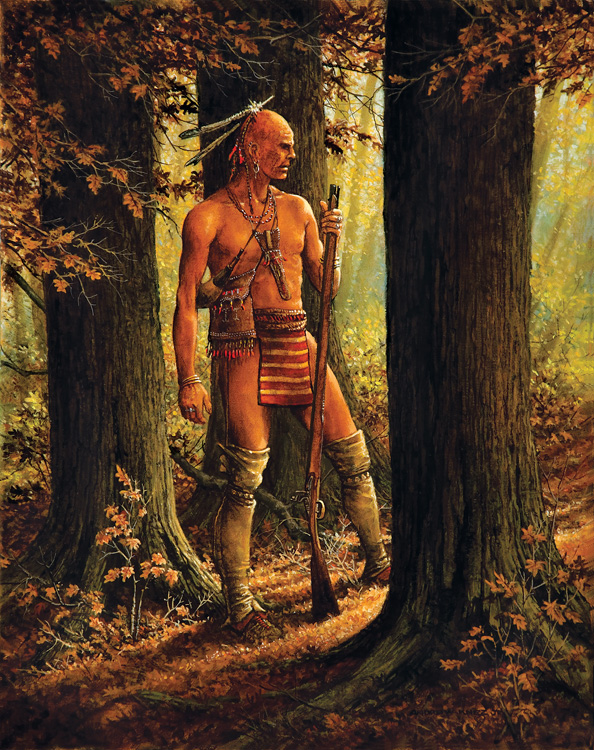 WOODLAND INDIAN IN FOREST